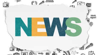 News concept: Painted multicolor text News on Torn Paper background with Scheme Of Hand Drawn News Icons, 3d render